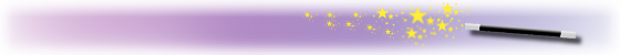 Colophon for our GIMP posts: magic wand with stars on a purple-gradient background.