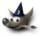 GIMP logo featuring Wilber, the GIMP mascot, as a wizard.